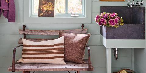 Wood, Room, Brown, Interior design, Wall, Floor, Home, Furniture, Interior design, Purple,