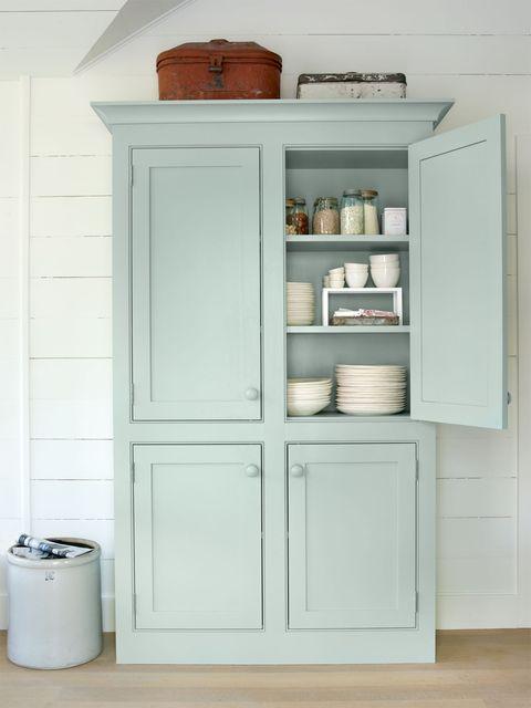 White, Shelving, Wall, Cupboard, Handle, Cabinetry, Grey, Peach, Dishware, Shelf,