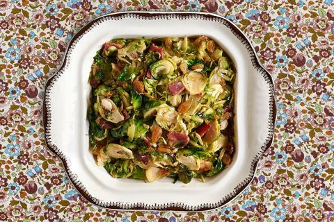 shaved brussels sprouts with country ham