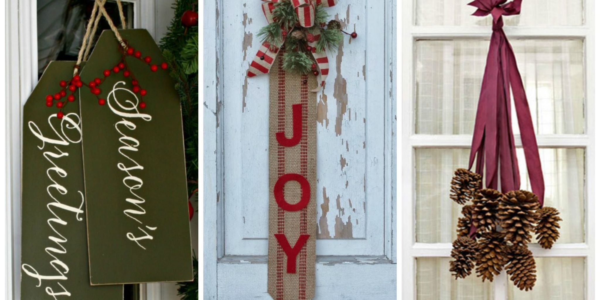 These out-of-the-box DIY door decorations will brighten up your front porch and help spread the Christmas cheer this holiday season. & 14 DIY Christmas Door Decorations - Holiday Door Decorating Ideas ...