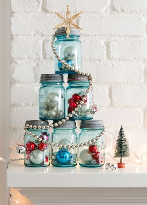 mason jar christmas tree - How To Decorate Mason Jars For Christmas