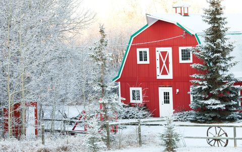 Winter, Property, Red, Tree, House, Home, Snow, Freezing, Woody plant, Rural area,