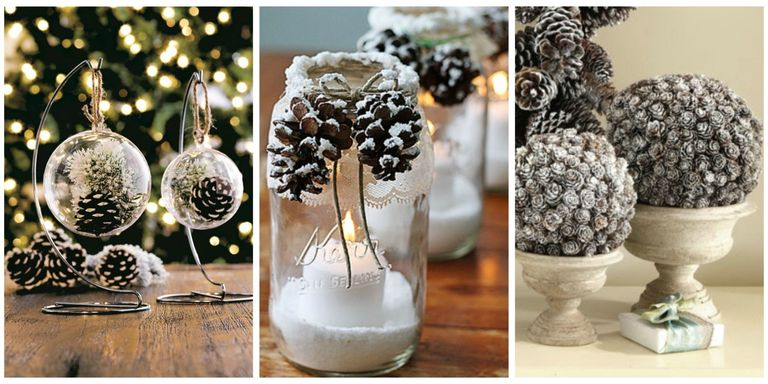 21 holiday pine cone crafts ideas for pinecone christmas for What kind of paint to use on kitchen cabinets for vase candle holder centerpiece