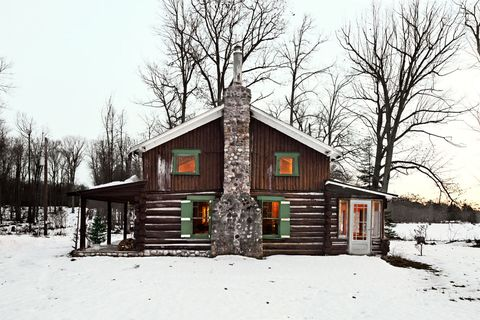 Winter, Wood, Branch, Window, Property, House, Tree, Snow, Home, Woody plant,