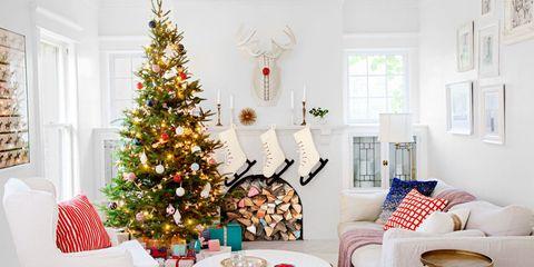 Room, Interior design, Home, Living room, Branch, Christmas decoration, White, Furniture, Christmas tree, Interior design,