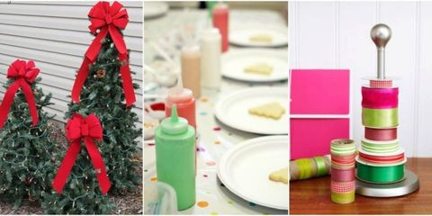 Christmas decoration, Ribbon, Party supply, Dishware, Paper product, Plastic bottle, Paper, Christmas, Peach, Present,