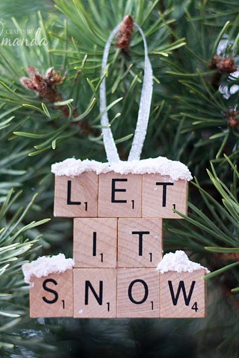 scrabble tile homemade christmas ornament
