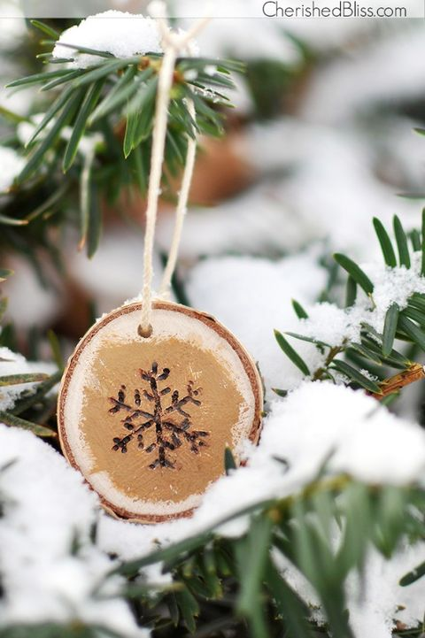 wood burned snowflake homemade christmas ornament