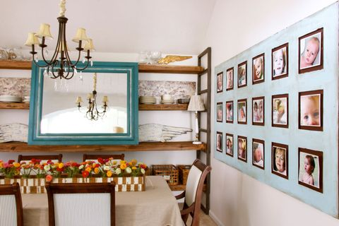 Interior design, Room, Wall, Interior design, Picture frame, Teal, Collection, Turquoise, Paint, Chandelier,