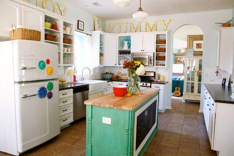 Room, Interior design, Cupboard, Floor, Major appliance, Kitchen appliance, Home appliance, Cabinetry, Kitchen, Countertop,