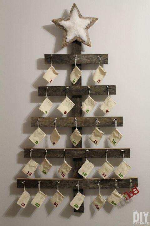 wood christmas tree advent calendar