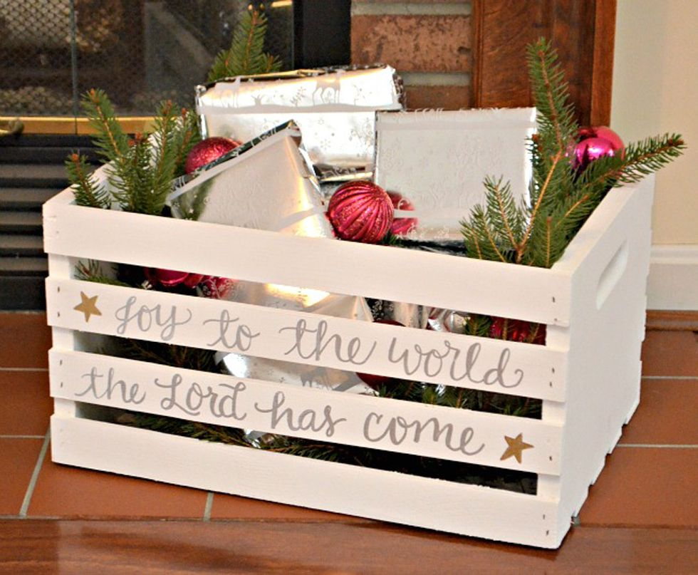 6 ways to use wooden crates this holiday season diy holiday crafting with wooden crates - Decorating Crates For Christmas
