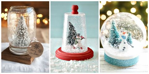 three handmade snow globes