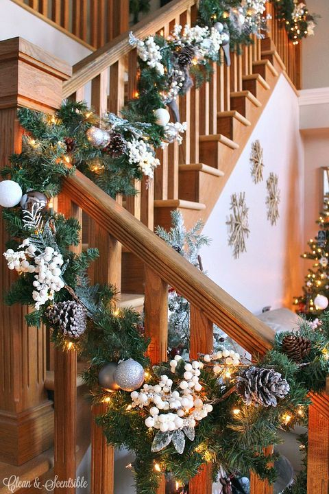 Christmas decoration, Wood, Interior design, Interior design, Holiday, Christmas, Home, Stairs, Ornament, Tradition,