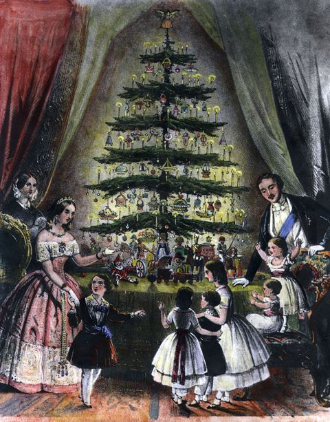 December 1848: The Royal Christmas tree is admired by Queen Victoria, Prince Albert and their children.