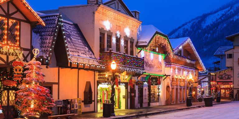 Small Quaint Little Towns Decorated For Christmas Animated