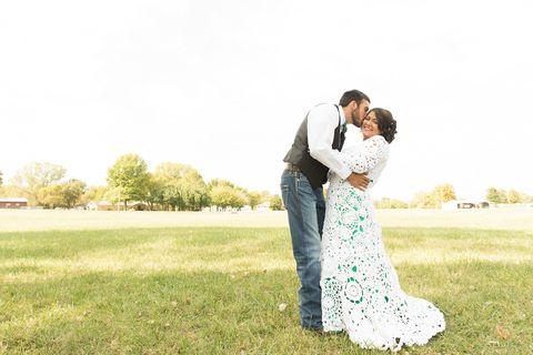 Dress, Photograph, Happy, People in nature, Interaction, Romance, Love, Plain, Gesture, Grassland,