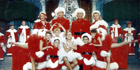 Rosemary Clooney, Danny Kaye, Bing Crosby, Vera-Ellen and children pose for picture in a scene from the film 'White Christmas', 1954.