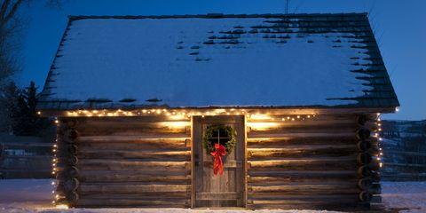 Blue, Winter, Log cabin, Freezing, Door, Snow, Majorelle blue, Roof, Home, Shade,