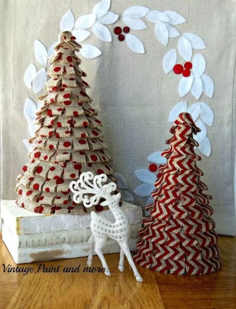 courtesy of vintage paint and more handmade burlap christmas trees - Vintage Rustic Christmas Decorations