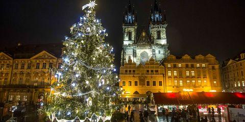 Night, City, Winter, Christmas tree, Public space, Christmas decoration, Landmark, Holiday, Facade, Midnight,
