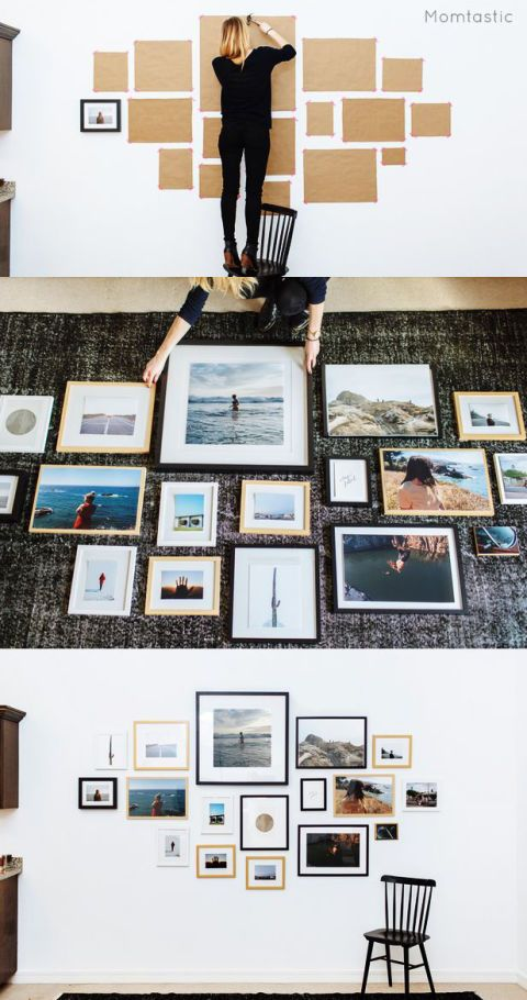 """<p>Don't go the trial-and-error route (that'll just leave your wall full of random holes). Use kraft paper to map out where each frame should go before you even pull out the hammer.</p><p><a href=""""http://www.momtastic.com/life/493863-how-to-hang-a-gallery-wall/"""" target=""""_blank""""><em>Get the tutorial at Momtastic »</em></a></p>"""