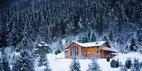 Winter, Window, Freezing, House, Snow, Home, Slope, Log cabin, Rural area, Roof,