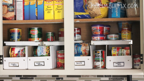 Shelving, Food storage, Food storage containers, Shelf, Pantry, Tin can, Tin, Convenience food, Packaging and labeling, Aluminum can,