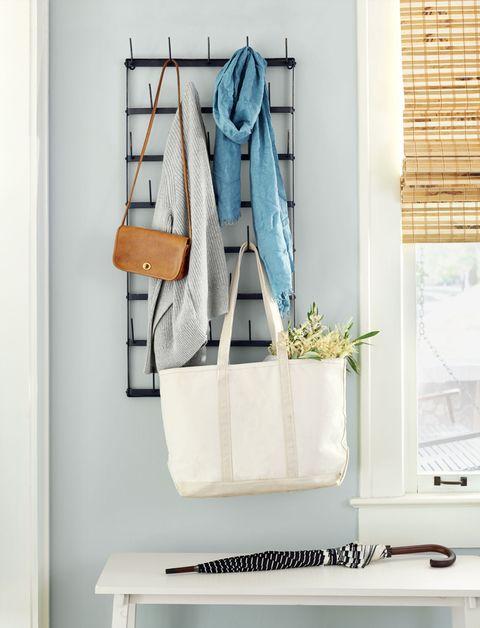 Bag, Denim, Window covering, Teal, Window treatment, Window blind, Interior design, Flowerpot, Shoulder bag, Tote bag,