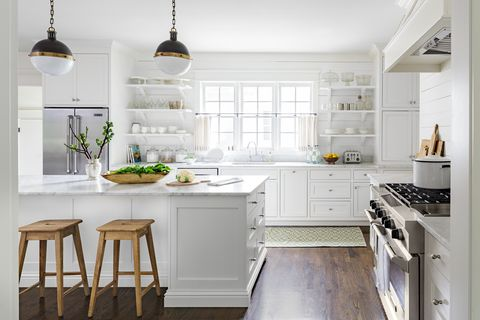 all white farmhouse style kitchen