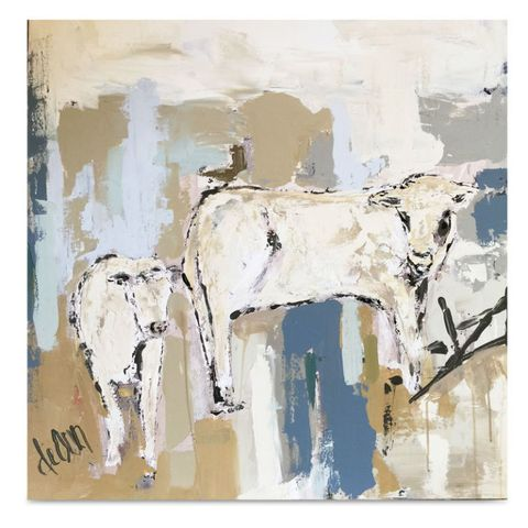 Bovine, Paint, Watercolor paint, Terrestrial animal, Art, Art paint, Working animal, Beige, Visual arts, Modern art,