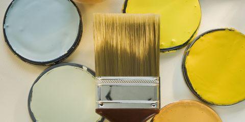 Brown, Yellow, Dishware, Cosmetics, Paint, Kitchen utensil, Tan, Still life photography, Metal, Circle,
