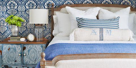 Blue, Room, Interior design, Wall, White, Home, Furniture, Interior design, Linens, Turquoise,