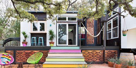 Window, Tree, Door, Flowerpot, Garden, Stairs, House, Outdoor furniture, Home, Bench,