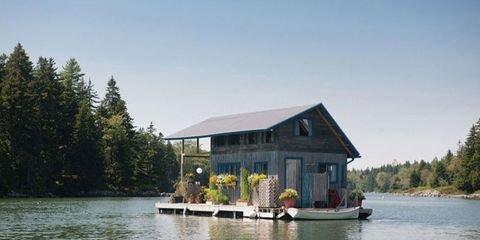 Water, House, Bank, Lake, Reservoir, Home, Cottage, Evergreen, Roof, Larch,