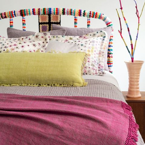 Blue, Yellow, Green, Room, Textile, Furniture, Purple, Bedding, Interior design, Magenta,