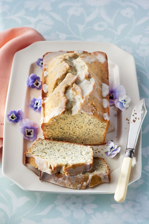 almond and poppy seed loaf cake with almond glaze