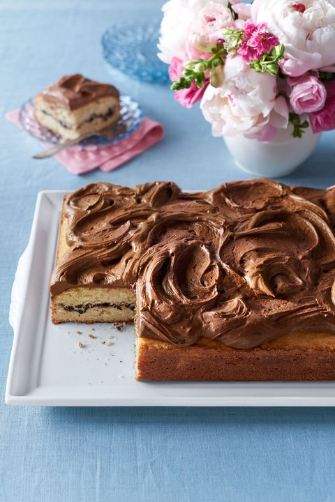 Recipe for vanilla sheet cake with chocolate-cinnamon filling and rich chocolate frosting.