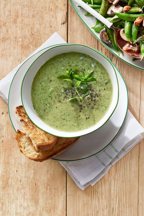 Farm fresh recipe for snap pea-and-lettuce soup.