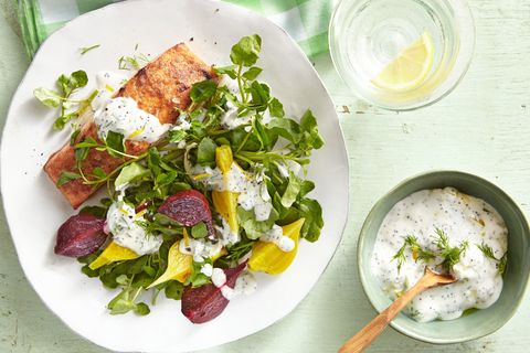 winner dinner recipe for salmon and beets with yogurt sauce over watercress