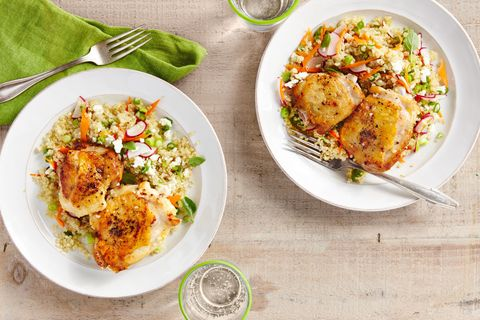 Recipe for salt-and-pepper chicken with spring quinoa pilaf.