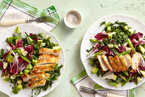 Winner dinner recipe for Breaded Pork Cutlet with Avocado-and-Shredded Kale Salad.