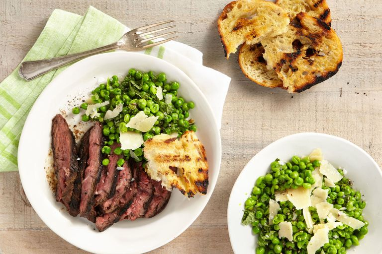 Winner dinner recipe for Grilled Cumin-Rubbed Hanger Steak with Smashed Minty Peas and Grilled Bread