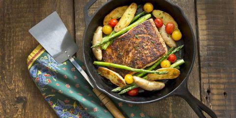 Food, Produce, Tableware, Dishware, Meal, Ingredient, Cuisine, Kitchen utensil, Meat, Fork,