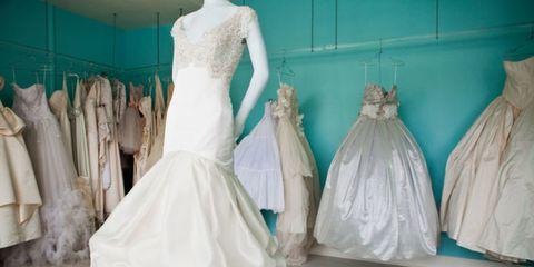 Dress, Textile, Gown, Teal, Mannequin, Wedding dress, Bridal clothing, Aqua, One-piece garment, Fashion,
