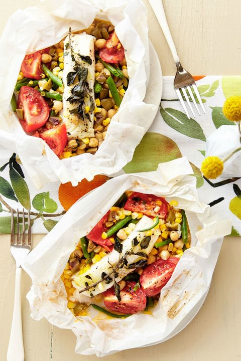 Bass Packets with Tomato, Corn, Chickpeas, and Olives Recipe