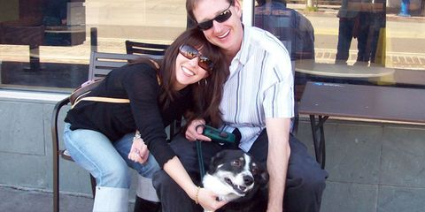 Eyewear, Vision care, Smile, Dog breed, Vertebrate, Outerwear, Dog, Goggles, Jeans, Sunglasses,