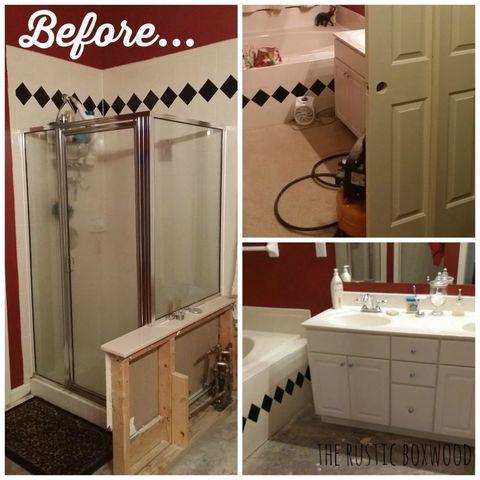 Farmhouse Bathroom Makeover - Rustic Bathroom Remodel on diy small bathroom designs, houzz master bathroom designs, diy master bathroom makeovers,