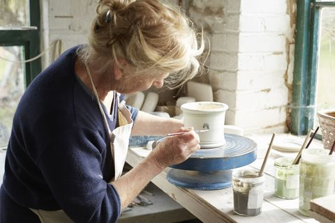 Potter's wheel, Blond, Pottery, Sweater, Cup, Artisan, Ceramic, Clay, earthenware,