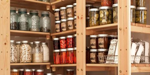 Food storage containers, Mason jar, Shelving, Shelf, Collection, Preserved food, Food storage, Canning, Bottle, Pickling,